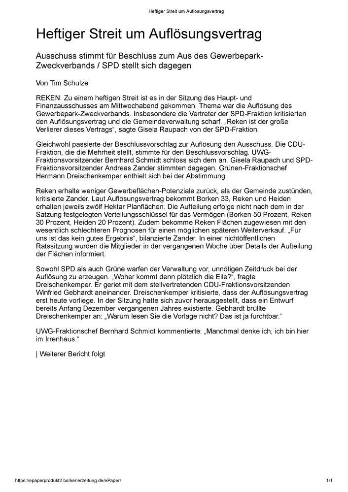 Bericht Borkener Zeitung vom 08.02.2018 - SPD Reken